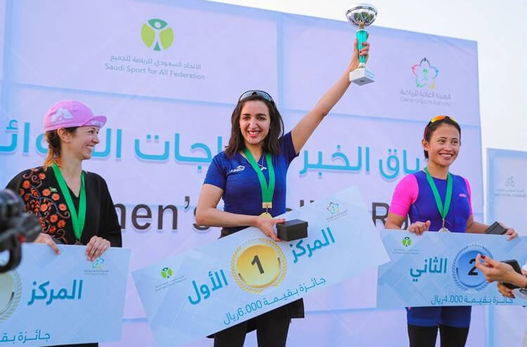 Nadia Skoukdi the winner of the first cycle race in Saudi Arabia