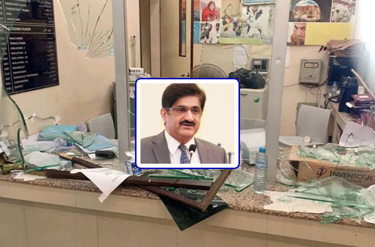 Chief Minister Sindh took stern notice of vandalism in Civil and Jinnah Hospitals